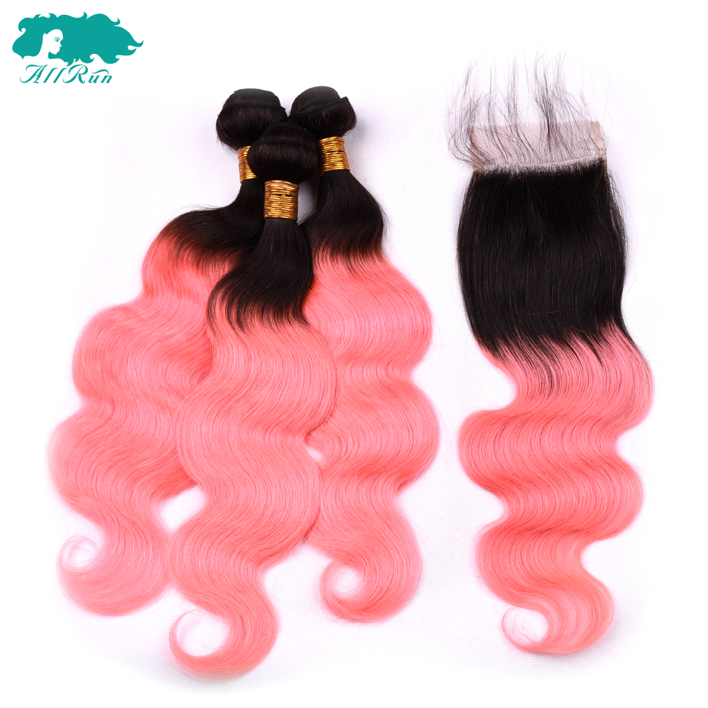 ALLRUN Human Hair Body Wave Ombre 1B/Rose Pink Indian Bundles with Closure 3 pcs With 4*4 lace Closure Non Remy Hair Extension