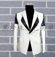 White Men Suits Designs Masculino Homme Terno Stage Costumes For Singers Men Sequin Blazer Dance Clothes