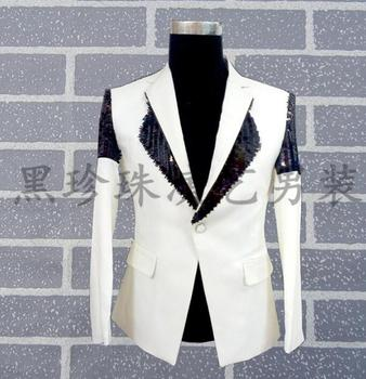 White men suits designs masculino homme terno stage costumes for singers men sequin blazer dance clothes jacket style dress rock