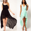 Yi-noki verão chiffon mulheres vestidos plus size fashion dress sexy lace irregular cauda de andorinha preta mixi dress vest long beach dress