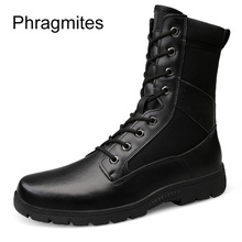 Phragmites Genuine Leather Army Boots New Soft Unisex Plus Size Warm Plush Waterproof Motorcycle Botas Tacticos Zapatos