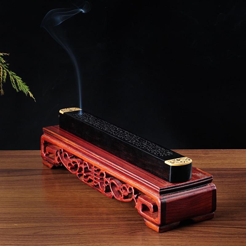 PINNY Ebony Wooden Incense Box Pure Copper Incense Joss Sticks - Home Decor - Photo 3