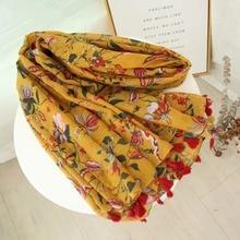 1 шт. мусульманский шарф желтый цвет с цветочным принтом хлопок вискоза хиджабы палантины