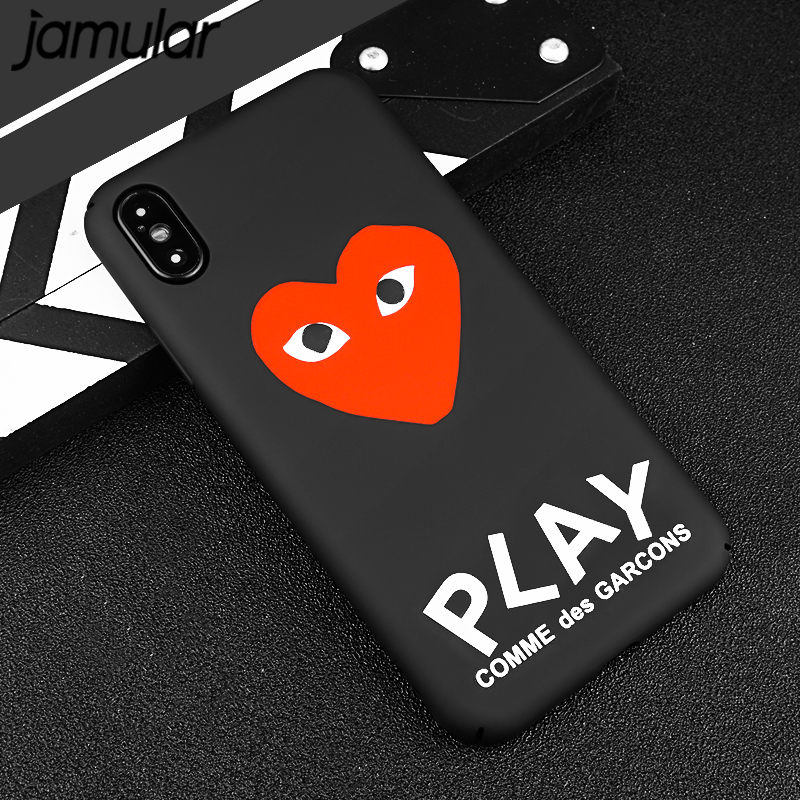 JAMULAR For iPhone 7 X 6 6s 8 Plus Heart Matte Hard Phone Case Japan CDG Play Comme des Garcons Cover For iPhone 10 X Black Capa