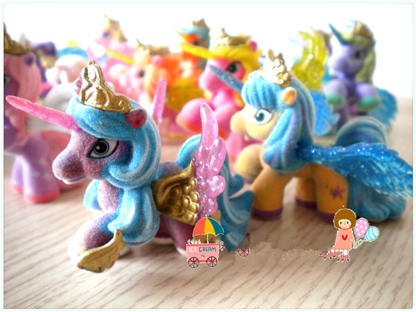 O for U 5/10Pcs/lot Filly Stars Wings Series Little Horse Dolls Collection Action Doll 5CM Original Flocking Filly Horses Toy ...