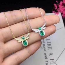 SHILOVEM 925 sterling silver real Natural Emerald Pendants classic fine Jewelry women wedding wholesale new dz0406030301agml