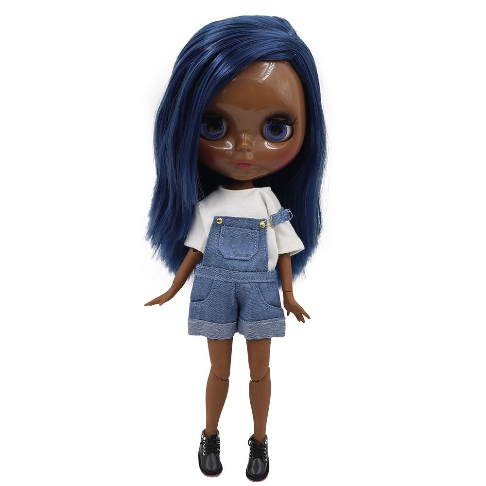 ICY fortune days factory blyth doll super black skin tone darkest skin blue hair joint body