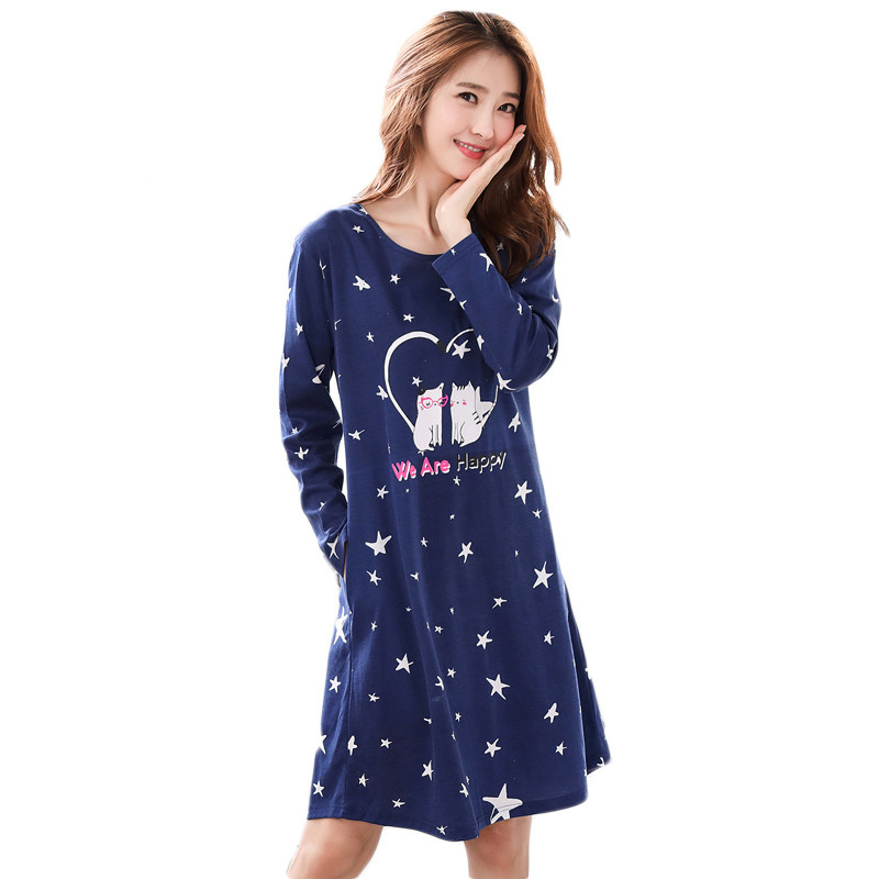 Brand New Knited Cotton Women's   Nightgown   Lounge Nightdress Girl Sleepwear Casual Nightwear Loose   Nightgowns   Fashion   Sleepshirts