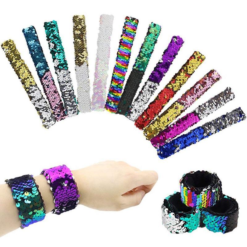 Magic Paillette Mermaid Patted Bracelets Two-Color Sequin Reversible Glitter Slap Bracelets Charms Wristband for Kids Grownups