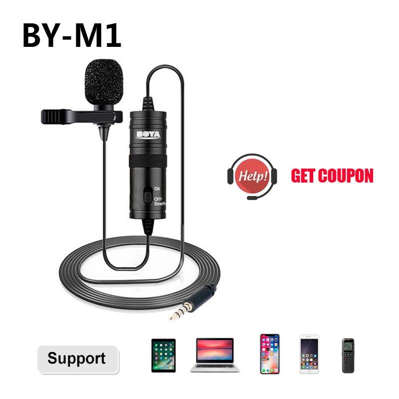 Microfone BOYA BY-M1 6m Clip-on microfone de Lapela Mini Gola Lapela Microfone Condensador para a gravação De Áudio De 3.5mm Canon /iPhone Câmeras DSLR