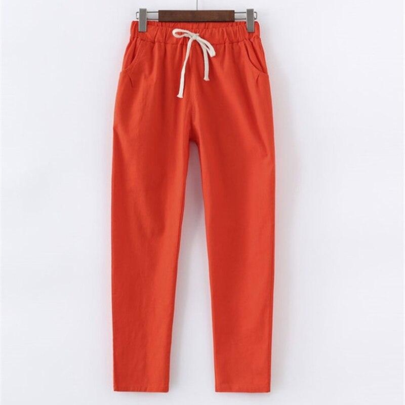 2019 Spring Summer New Loose Cotton Linen Pants Female Thin Linen Nine Pants Womens Korean Casual Harem Pants Trousers Tide F29