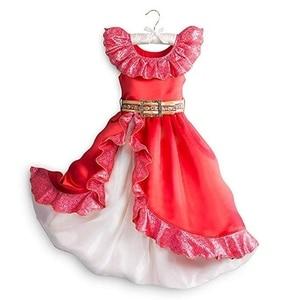 Image 1 - Robe daventure Elena pour filles, Costume Cosplay, sans manches, robe de luxe rouge pour enfants, Halloween fantaisie