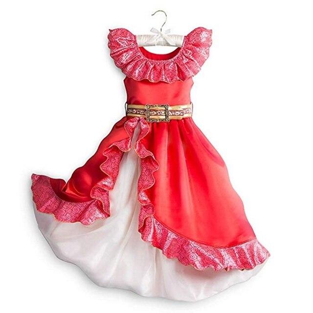 Robe daventure Elena pour filles, Costume Cosplay, sans manches, robe de luxe rouge pour enfants, Halloween fantaisie