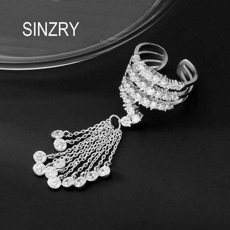 SINZRY NOUVEAU Micro pavée zircon ouvert fin réglable CZ gland bagues pour femmes lady exagéré la mode anneau