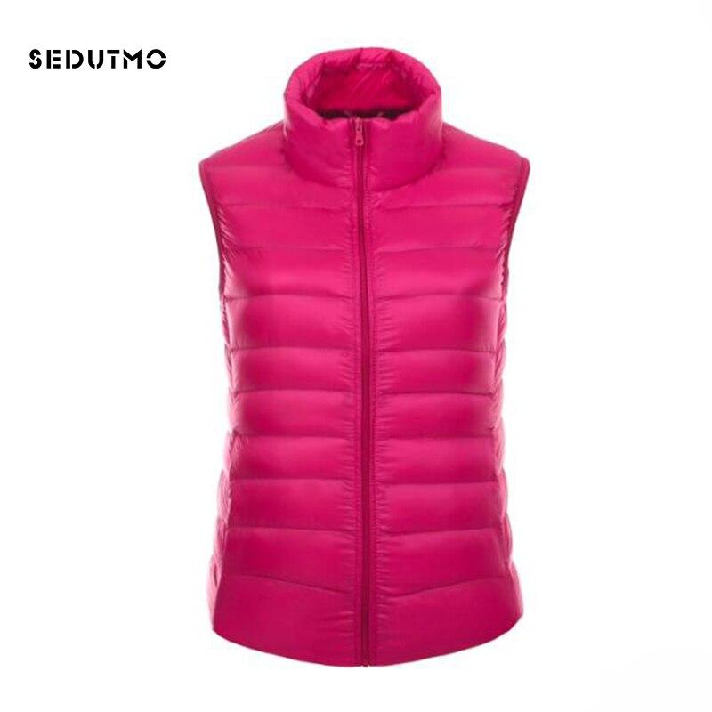 SEDUTMO 2018 Spring Ultra Light Womens   Down   Jackets Plus Size 3XL Vest Duck   Down     Coat   Winter Short Puffer Jacket Waistcoat ED118