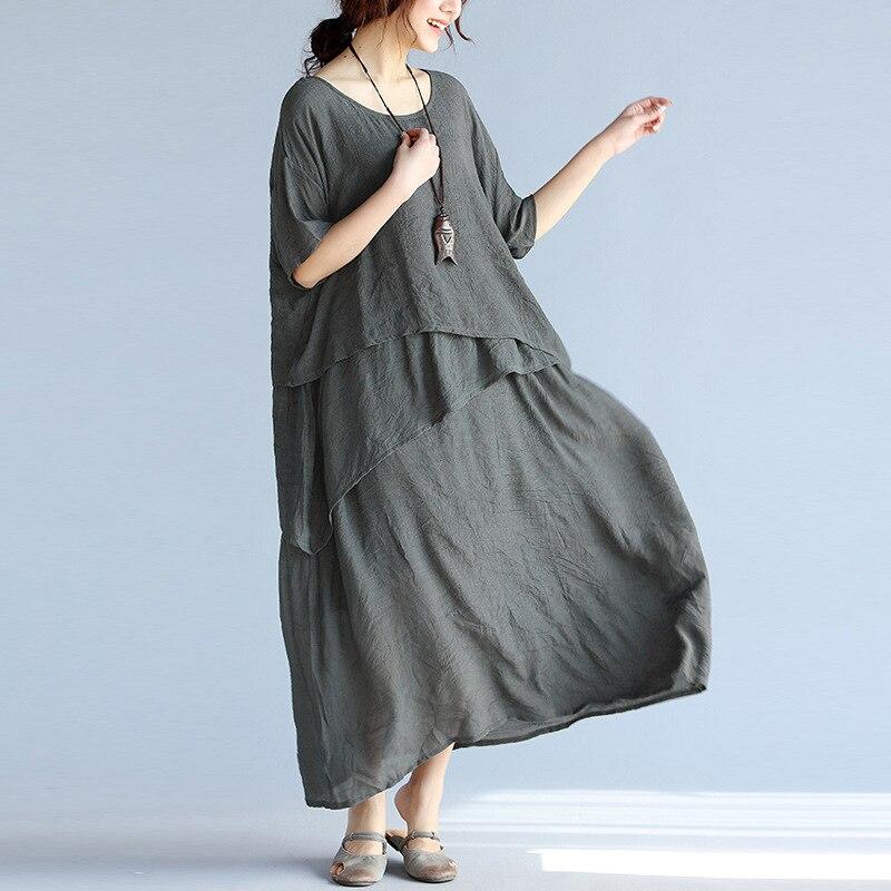 Cotton Linen Casual Long Dresses