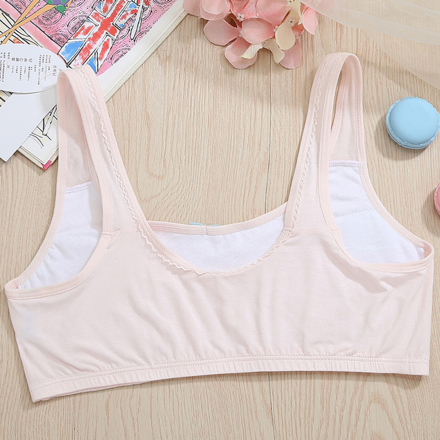 Feichangzimei Teen Girl Underwear Sport Bra White/Pink AA Cup Cotton Comfortable First Training Bras  2 Pack For Girls -18001-N