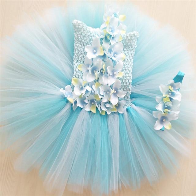 a91c14017 Baby Girls Flower Princess Tutu Dress Girl Wedding Gowns Kids Toddler  Birthday Party Dress Light Blue Tulle Dress For 0-4 Year