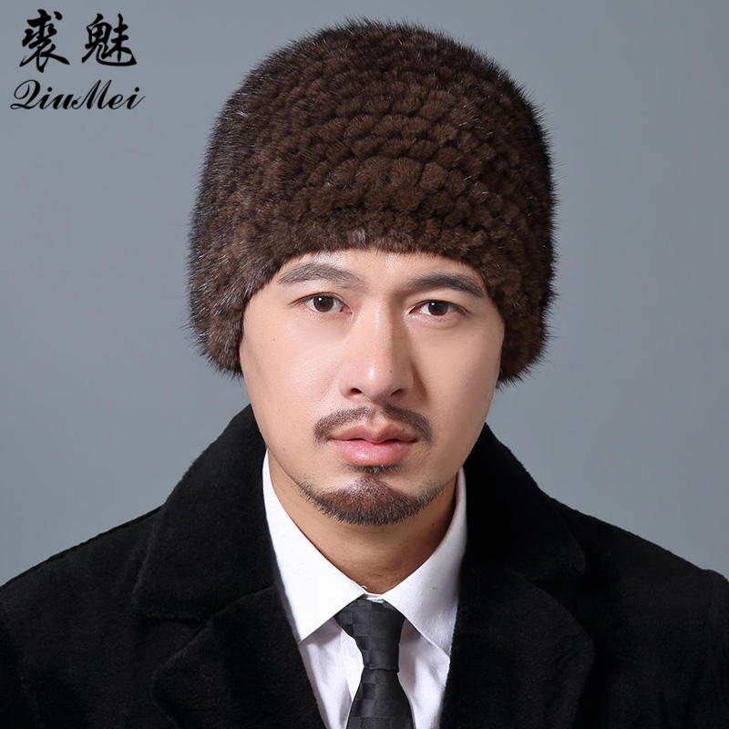 Mink Hats For Men Natural Real Fur Cap New Elastic Winter Knitted Lined Men Cap Pineapple Hat Male Winter Genuine Mink Fur Hat