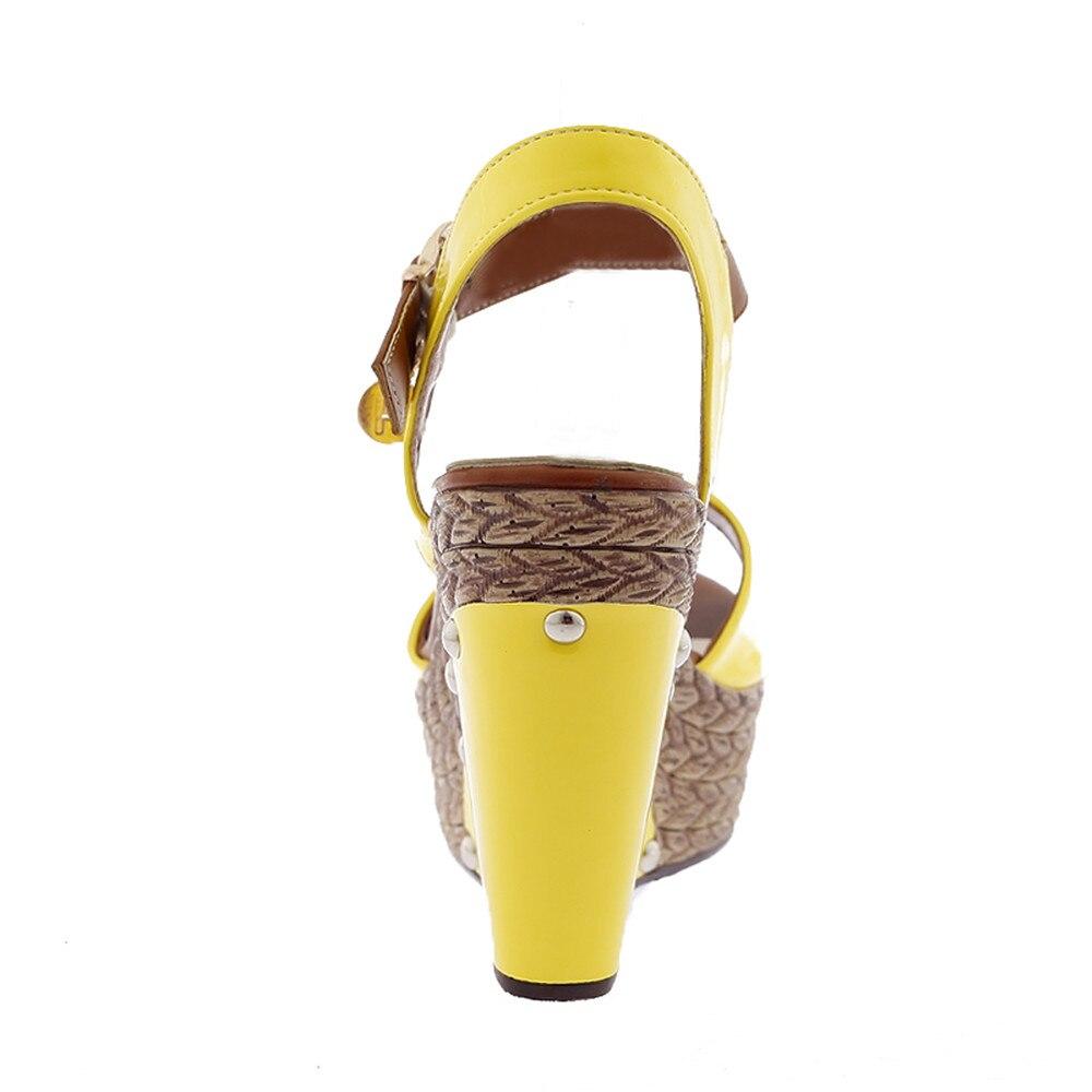 Mode Couleurs Arrivée 2018 Red De Mélangées Taille Femmes Confortable forme Chaussures 39 Pour Sandales blanc jaune Bleu Memunia 34 Compensées Nouvelle Plate D'été rose nvAqxvIF