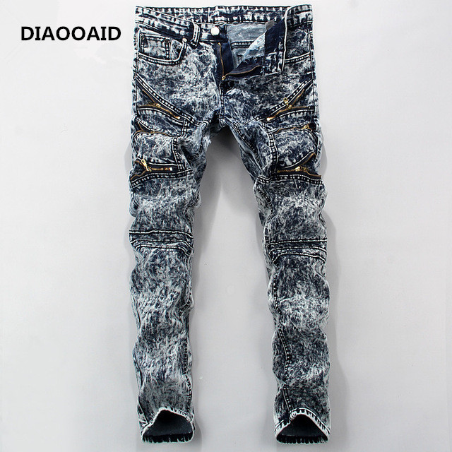 DIAOOAID 2018 cremallera estilos biker Jeans Mens Hip Hop botín lavado  Skinny de Denim elástico hombres pantalones lápiz lavar Pantalones en  Pantalones ... b58edeecec9