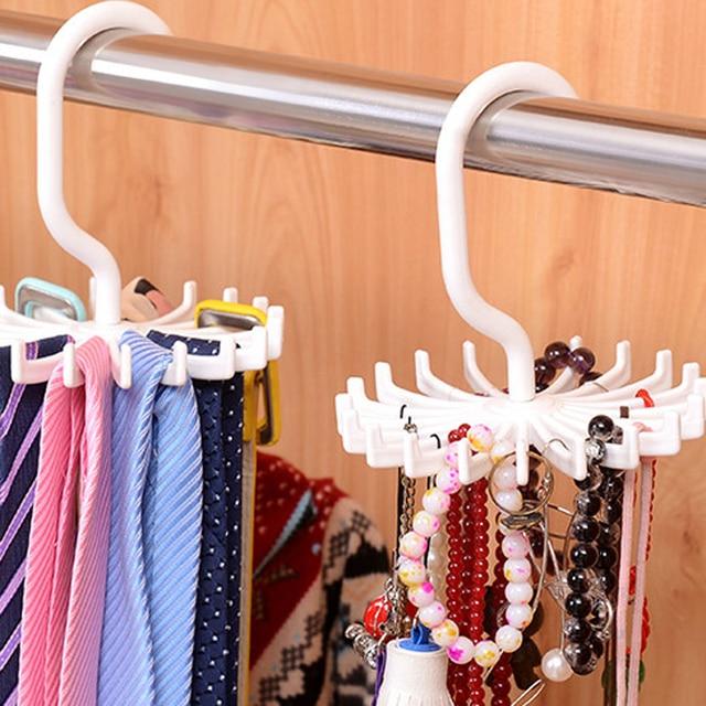 LASPERAL Mini Trắng Nhựa Tie Giá Móc Xoay Tie Chủ 1 Mảnh Giữ 20 Quan Hệ/Thắt Lưng/Chiếc Khăn Móc Áo giặt Tổ Chức