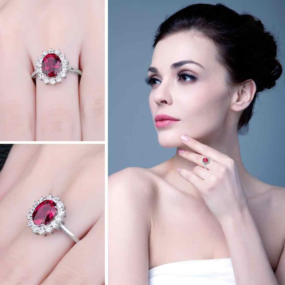 Jewelrypalace Принцесса Диана Уильям Обручение свадебные красные рубиновое кольцо Set чистого твердого натуральная 925 пробы Серебряные ювелирные изделия