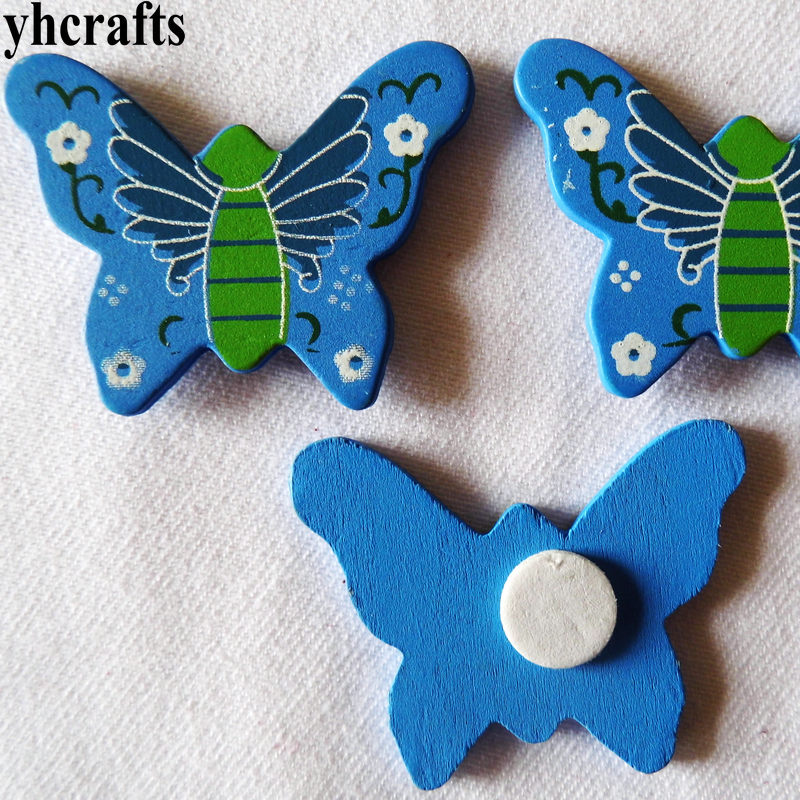 100pcs/lot,blue Butterfly Wood Stickers,easter Spring Crafts.kids Room Decoration Diy Toys,craft Material,scrapbooking Kit Oem Sufficient Supply Classic Toys Stickers