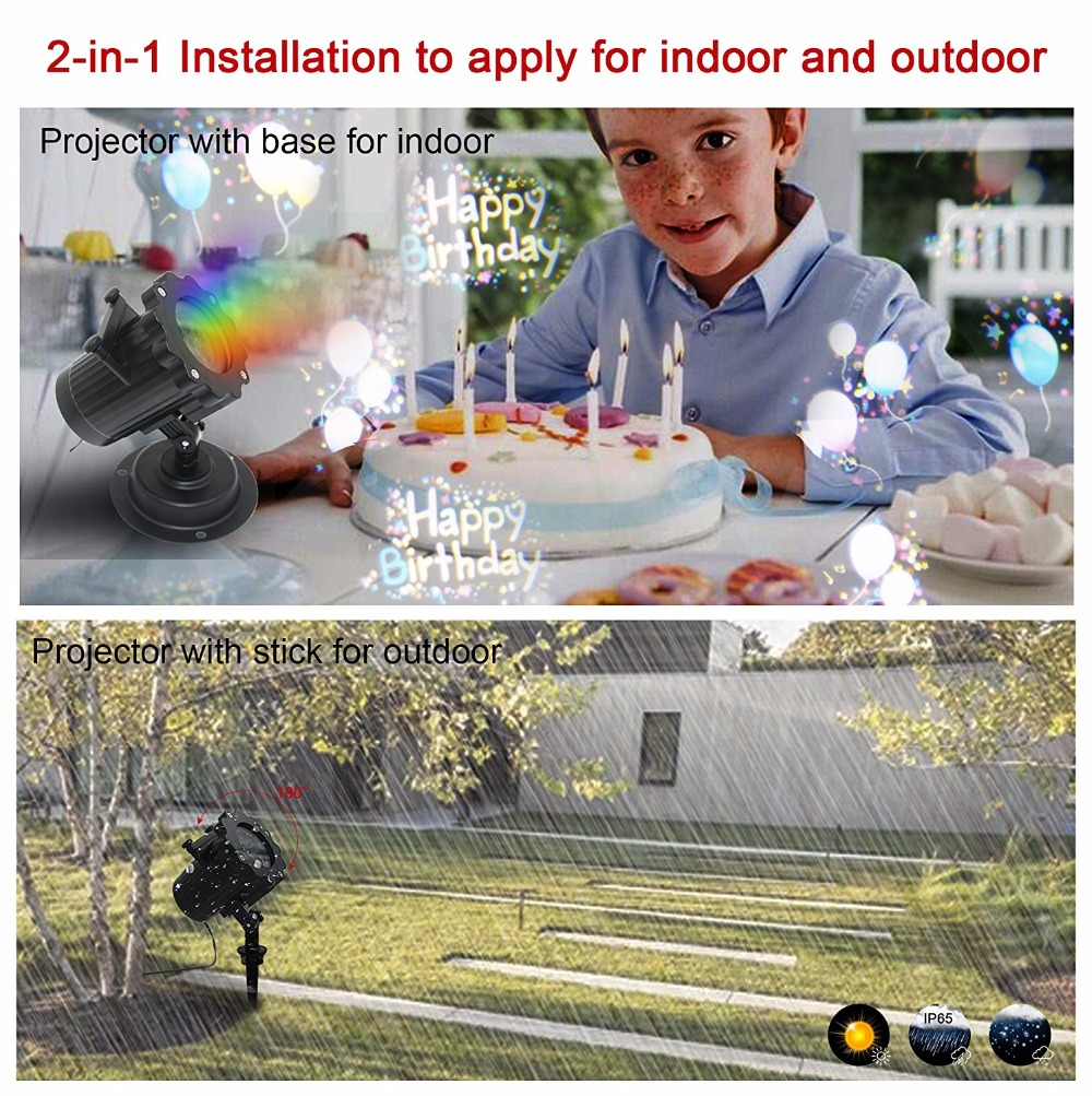 Kmashi 16PCS Pattern Lens Christmas Led Projector Light Show Outdoor Waterproof for Garden Wall Holiday Party Decorations