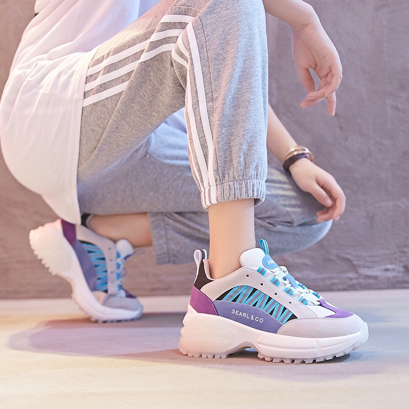 Dumoo New 2018 Autumn Sneakers Women Shoes Mixed Color Casual Shoes Heel 5cm Platform Wedges White/Black Shoes Brand Lady Shoes 2018 white sneakers shoes women mixed color retro cross tied slip on women sneakers platform cozy casual wedges shoes feminino