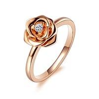 1 карат 18 К розового золота кольцо с бриллиантом счетчик подлинной розы женские модели платины золота кольцо с бриллиантом