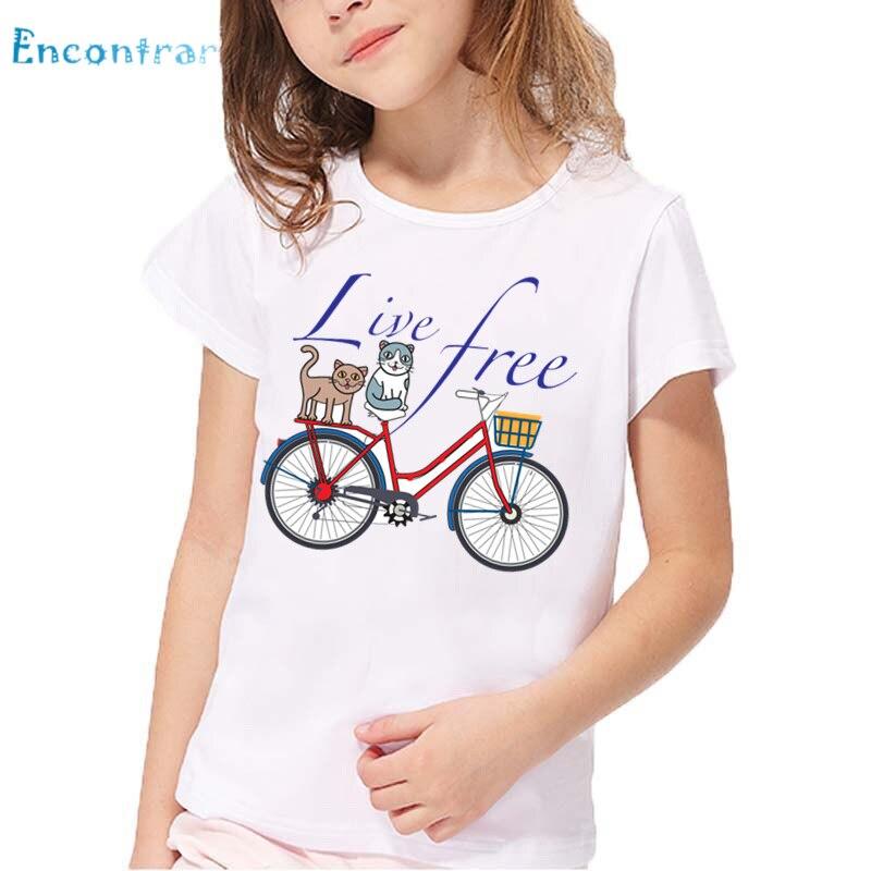 Kinder Katze Live Free Fahrrad Print Lustige T shirt Baby Sommer Weiß Casual T-shirt Jungen und Mädchen Cartoon T-shirt, HKP5577