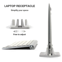 Free Ship Aluminum Vertical Stand for Laptop MacBook Pro/Air Thickness Adjustable Desktop NoteBooks Holder Erected Space saving