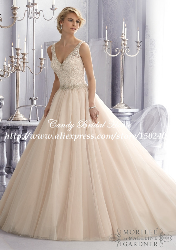 aa8db8cbb69b V Neck Illusion Back Romantic Cap Sleeve Ball Gown Wedding Dresses Lace and  Organza WD013 Vestidos de Noiva 2015