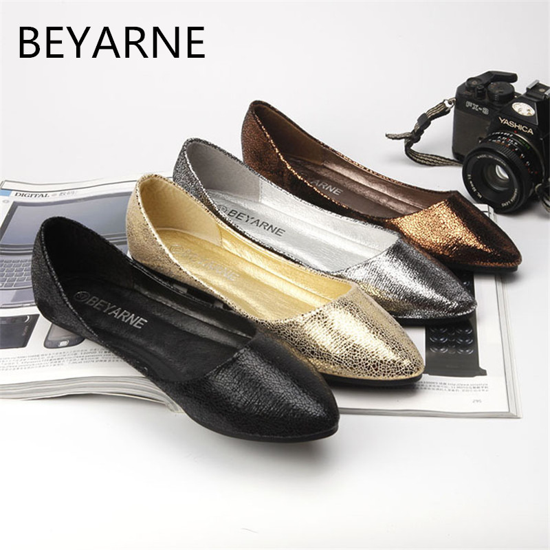 BEYARNE Spring Summer New Moccasins Women Casual PU Leather Designer Shoes Ladies Slip On Black Silver Gold Solid Big Size 35-41 beyarne spring summer women moccasins slip on women flats vintage shoes large size womens shoes flat pointed toe ladies shoes