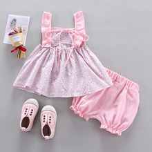 2019 New Baby Girl Clothes Summer Cute Sweet Dot Printed Bow-knoted All-match Sleeveless Tops Short Pants Set 2pcs