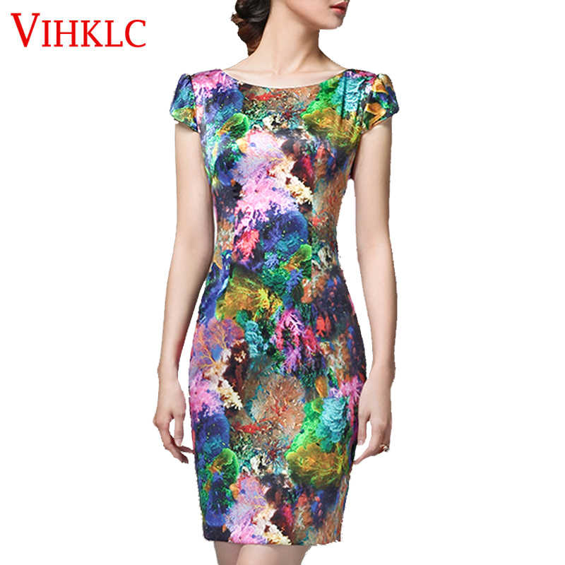 2017 New Summer Women Vintage short Sleeve Floral Print Dress Bodycon Milk Silk Ladies Party mini Pencil Dresses Vestido A299