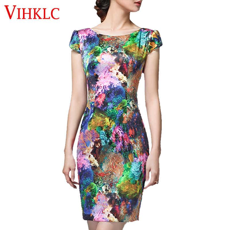 Nouveau été femmes Vintage à manches courtes imprimé Floral robe moulante lait soie dames fête mini crayon robes Vestido A299