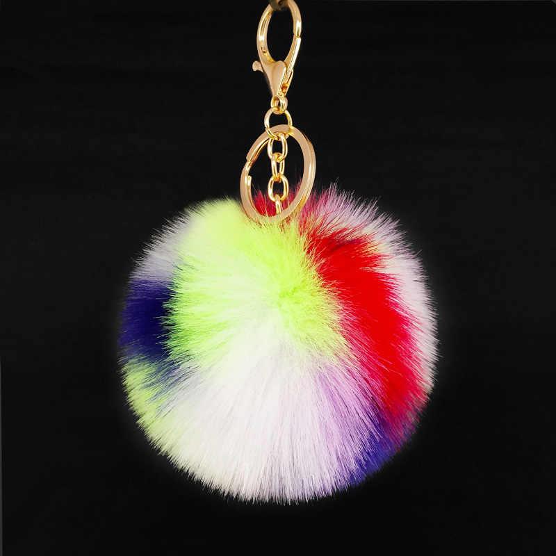 الملونة Pompom سلسلة مفاتيح على شكل كرة اليدوية الفراء أضاليا أكياس المعلقات الديكور حلقة رئيسية مجوهرات الأزياء حلية المفاتيح الهدايا