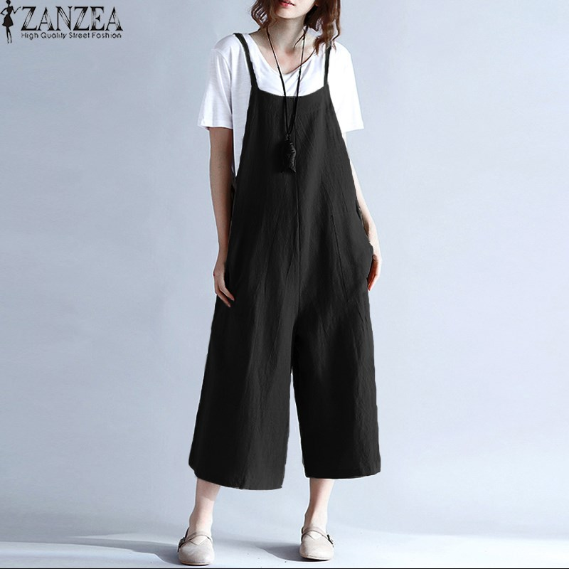 2018 ZANZEA Women Summer Spaghetti Straps Wide Leg Harem Long Pants Jumpsuit Cotton Romper Loose Overalls Dungarees Plus Size