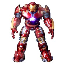 2018 Marvel Avengers 3 Iron Man Hulkbuster Armor Joints Movable dolls Mark With LED Light PVC Action Figure Collection Model Toy цена