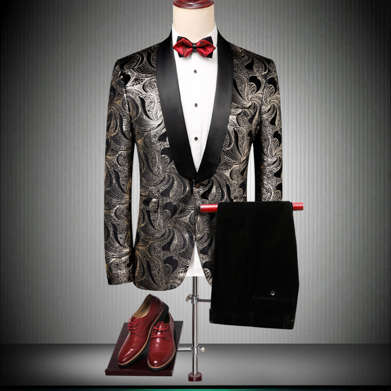 Men's suit two-piece suit (jacket + pants) men's business casual fashion suit men's new print ball party dress