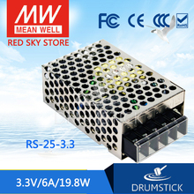 [VI] Hot! MEAN WELL original RS-25-3.3 3.3V 6A meanwell RS-25 3.3V 19.8W Single Output Switching Power Supply valuable mean well original rs 150 15 15v 10a meanwell rs 150 15v 150w single output switching power supply