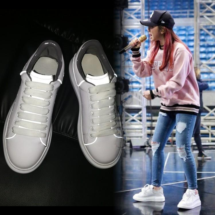 Bout Rond Caoutchouc Fluorescence Marque Zapatos Supérieure Mujer En Talons Chaussures Coudre Femmes forme Luxe Chic Blanc À Sport Espadrilles Plate De P17pqwqB