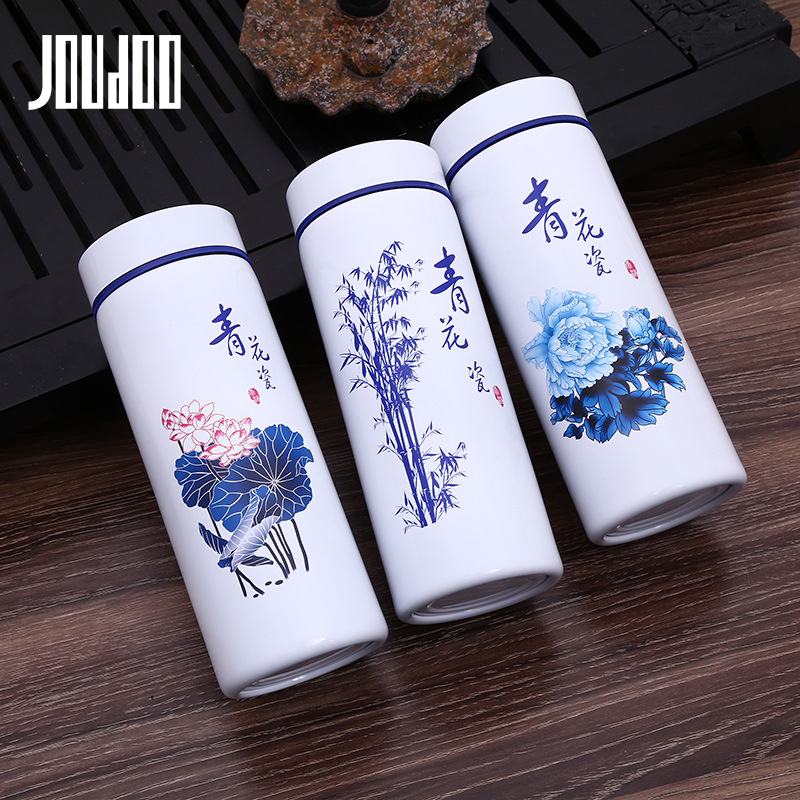 JOUDOO Ceramic Water Bottle Stainless Steel Outside Thermos Flask Outdoor Portable Porcelain Drink Bottle Cup 35