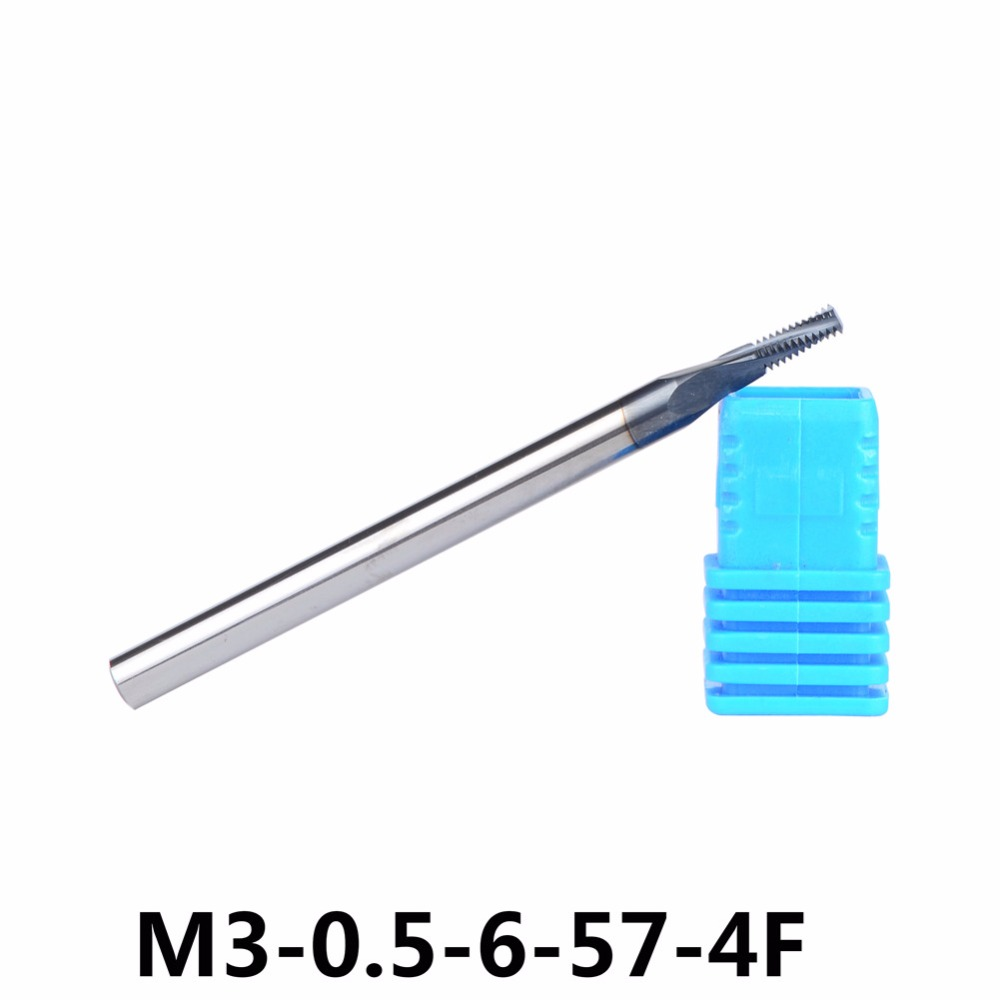 P0.5 Carbide thread end mills 1pc/4F-M3-0.5-6-57 thread mills, thread milling cutter with TIALN coating Free Shipping 1pc m5 0 8 10 57 4f tungsten carbide thread end mill m5 0 8 thread milling cutters with tialn coating metric 0 8mm pitch