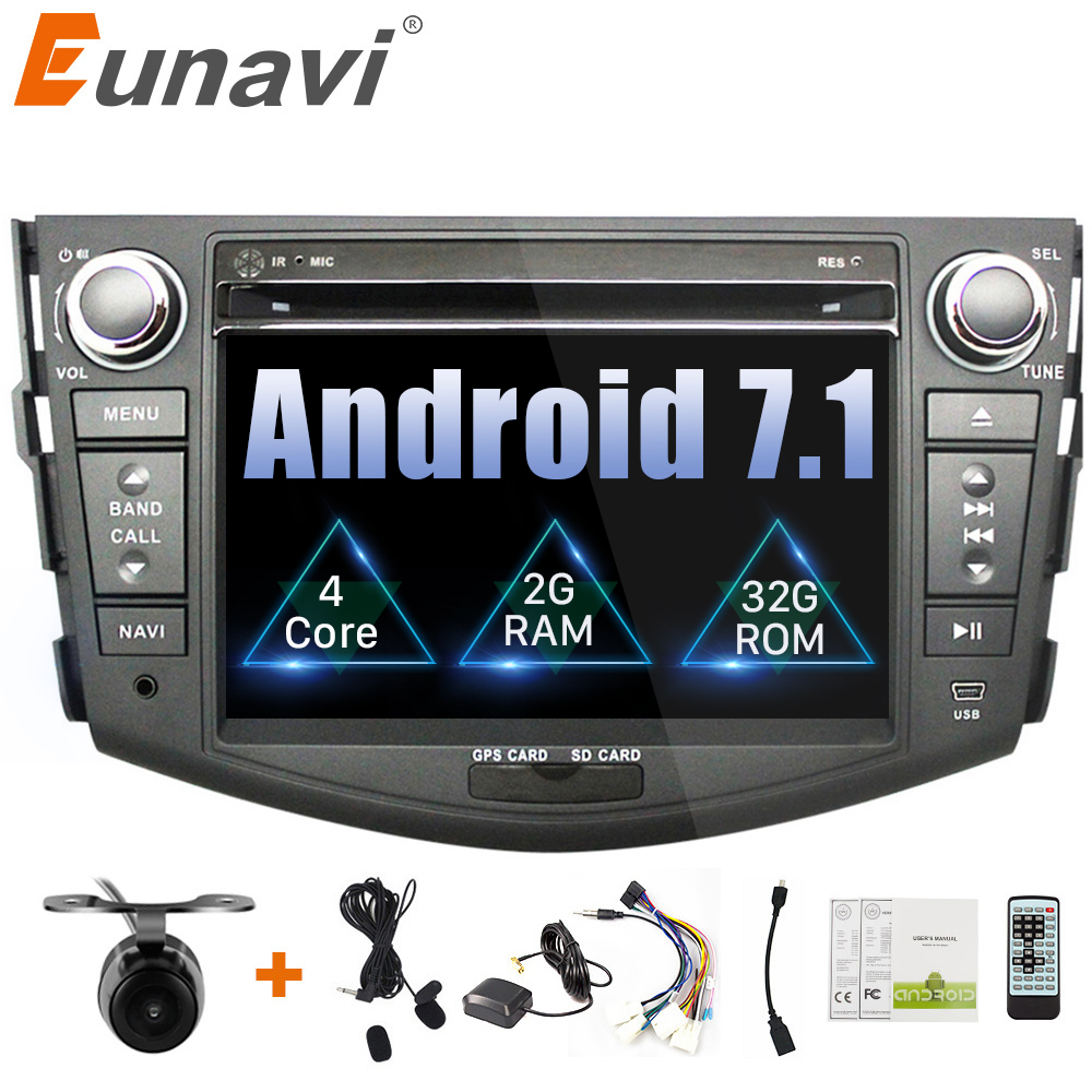 Eunavi 7'' 2 Din Quad core Android 7.1 Car DVD Radio Player GPS Navigation for Toyota rav 4 RAV4 Audio Stereo 2din RDS Wifi BT zopo zp700 quad core android 4 2 2 wcdma bar phone w 4 7 qhd wi fi and gps yellow