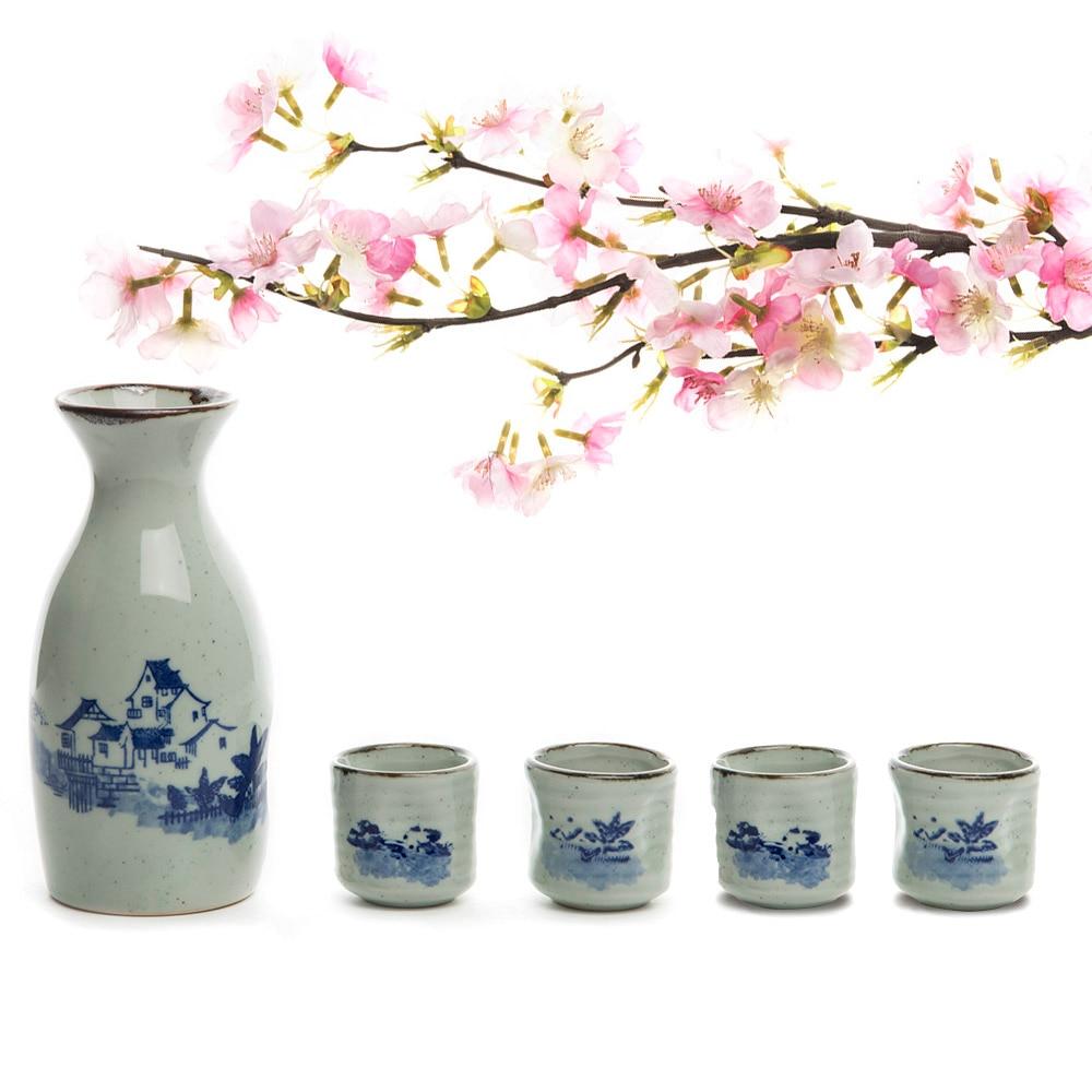 Китайский чайный горшок, расписанный вручную керамика, 5 шт., 150 мл, 1 саке, горшок + 4 чашки для саке, ручной работы, керамика, набор для вина, фар...