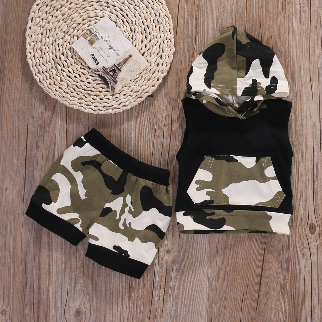 2017 Brand Pudcoco Baby Boy Girl Clothes Summer Cotton Camouflage Sleeveless Hooded T-shirt+Short Pants 2PCS Baby Clothing Set 2pcs set baby clothes set boy