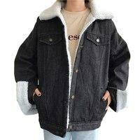 Новые модные женские Джинсовая куртка джинсовые пальто для девочек Толстая куртка-пилот теплые черные Большие размеры суды плюс cashmer верхн...